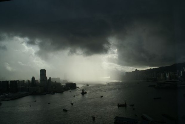 Storm over Hong Kong harbour